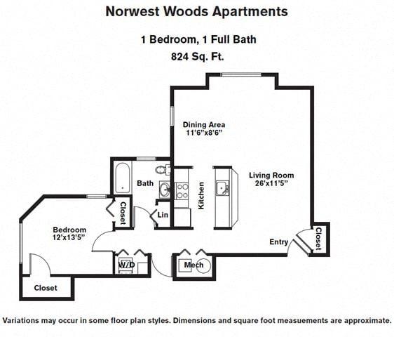 Floor plan 1 Bedroom - Single Level image 2