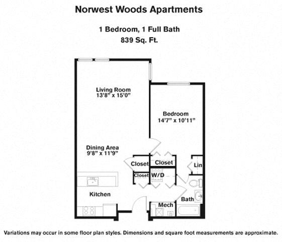 Floor plan 1 Bedroom - Single Level image 3