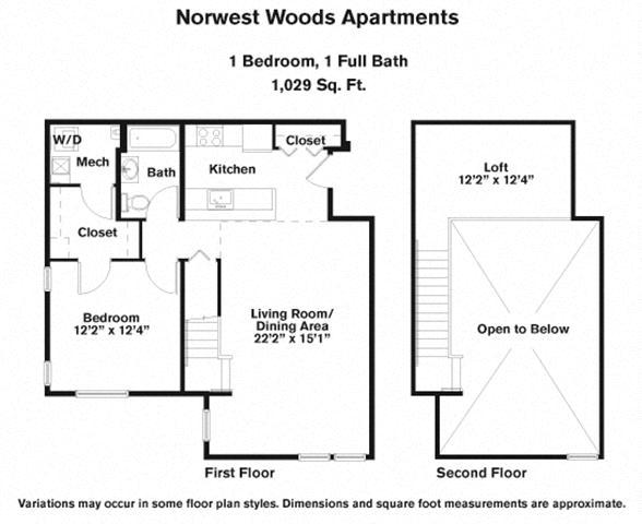 Floor plan 1 Bedroom - Loft image 2
