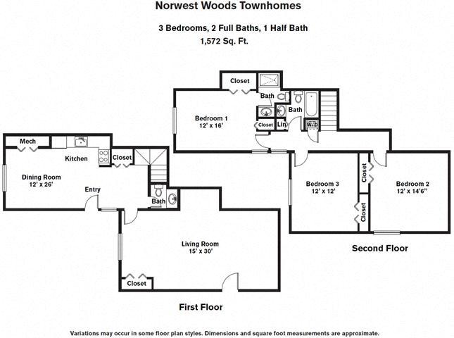 Floor plan 3 Bedroom - Townhome image 2