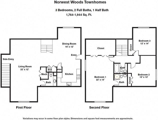 Floor plan 3 Bedroom - Townhome image 3