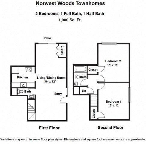 Floor plan 2 Bedroom - Townhome image 2