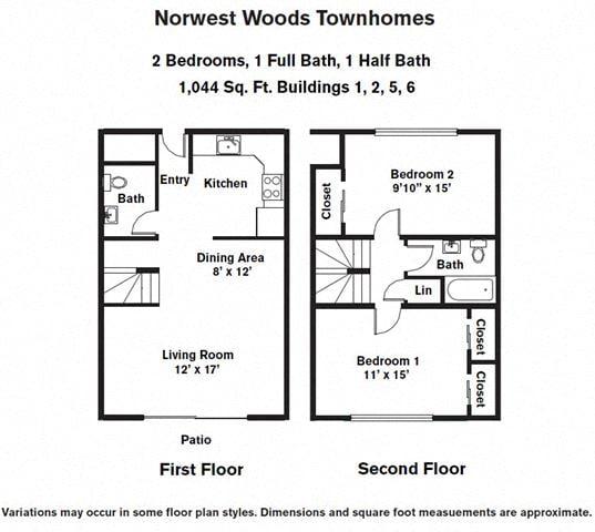 Floor plan 2 Bedroom - Townhome image 3