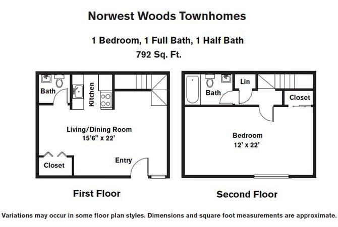 Click to view 1 Bedroom - Townhome floor plan gallery