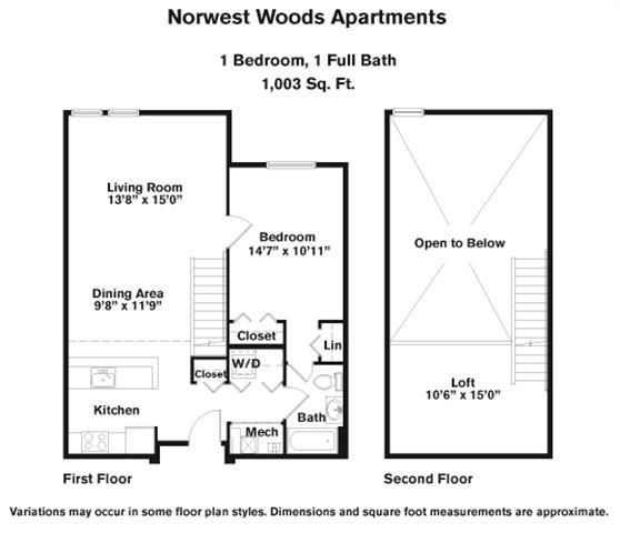 Click to view 1 Bedroom - Loft floor plan gallery