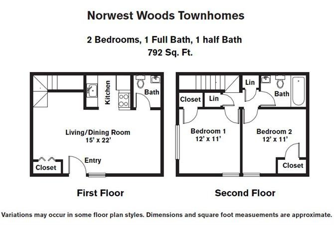 Click to view 2 Bedroom - Townhome floor plan gallery