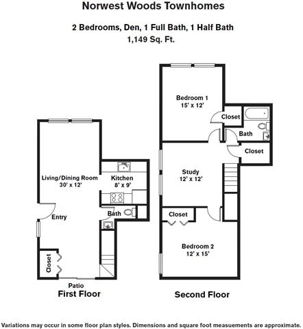 Click to view 2 Bedroom - Townhome and Den floor plan gallery