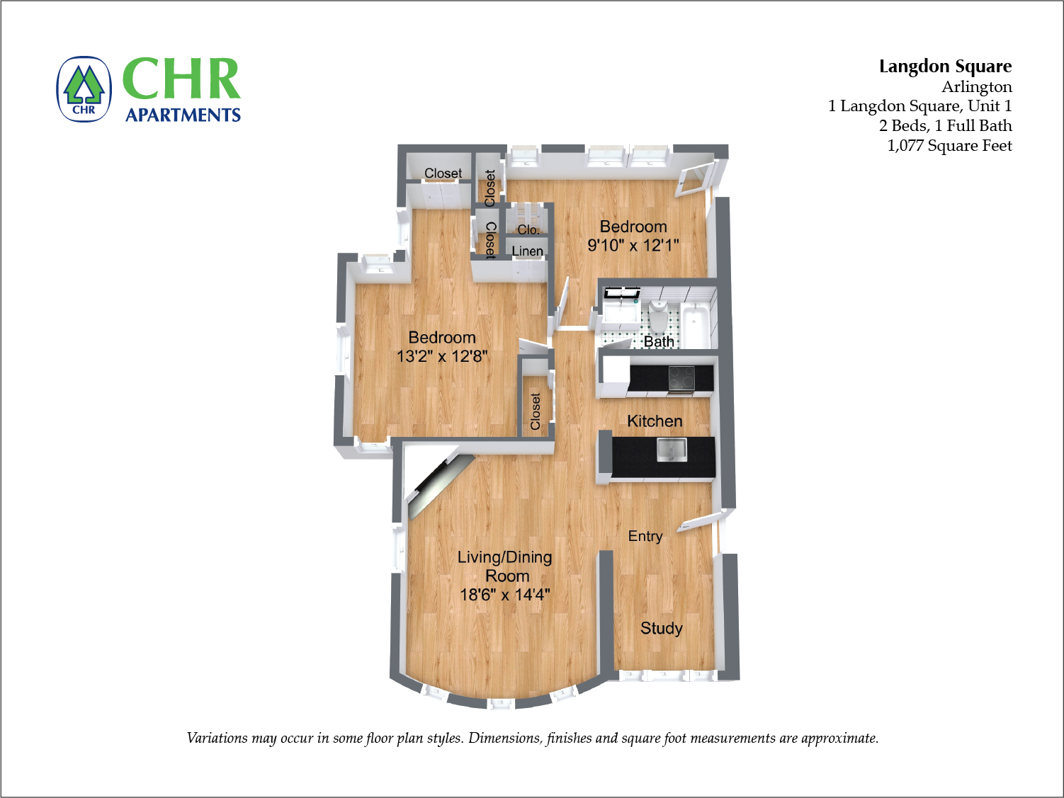 Click to view Floor plan Langdon Square - 2 Bedroom image 2