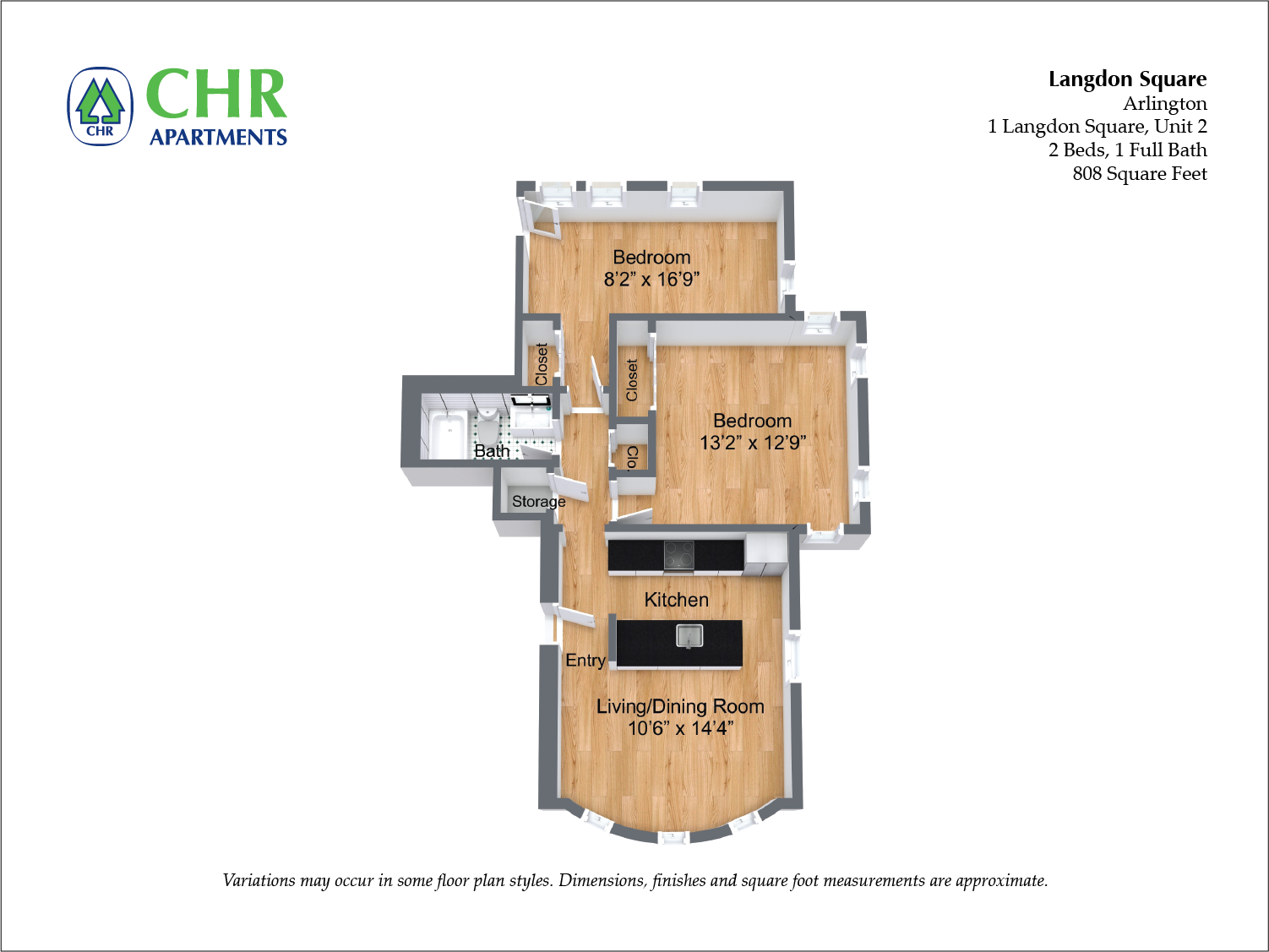 Click to view Langdon Square - 2 Bedroom floor plan gallery