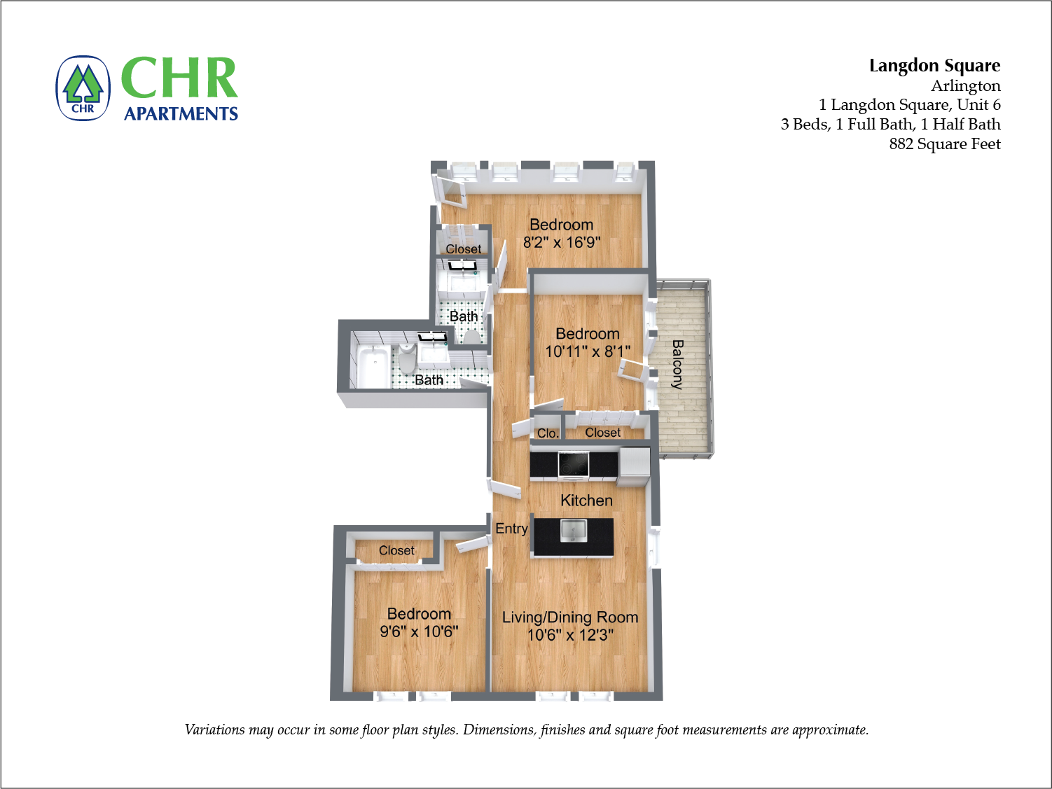 Click to view Langdon Square - 3 Bedroom floor plan gallery