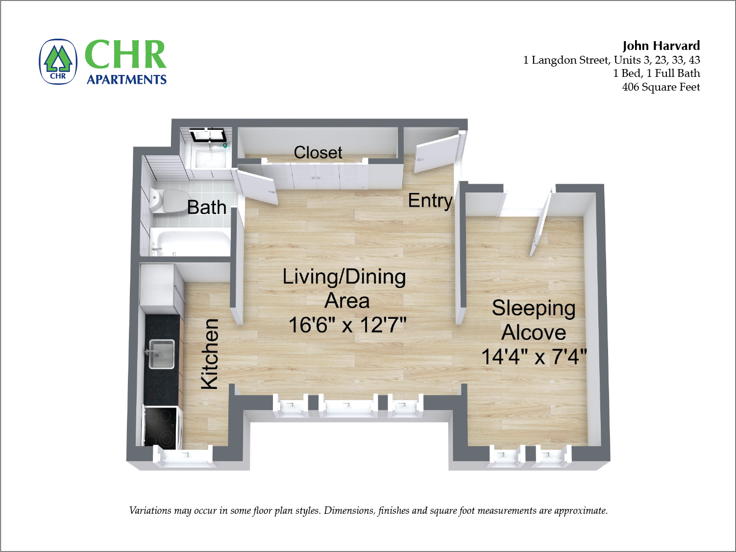 Floor plan John Harvard - 1 Bedroom image 2