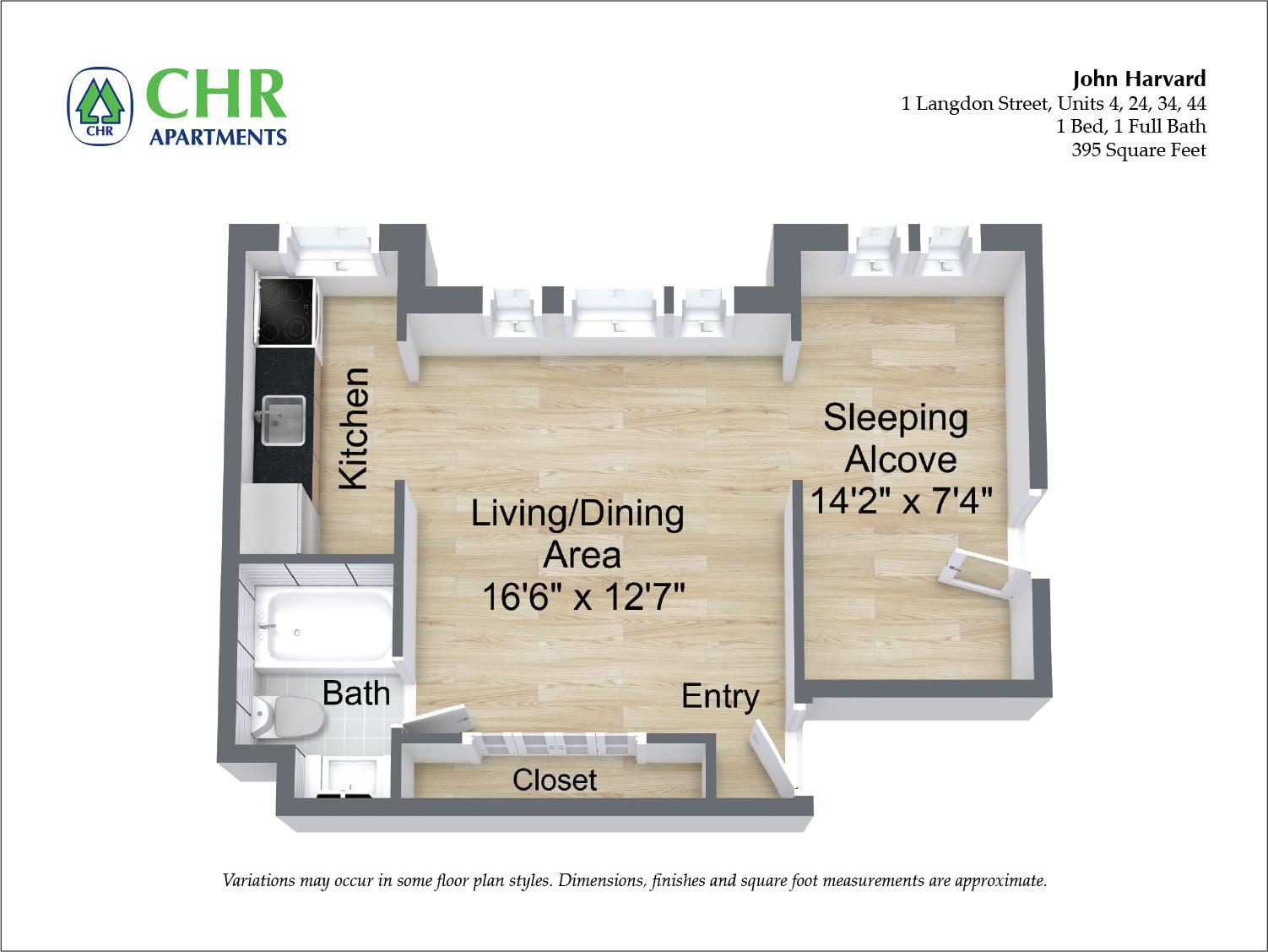 Click to view John Harvard - 1 Bedroom floor plan gallery