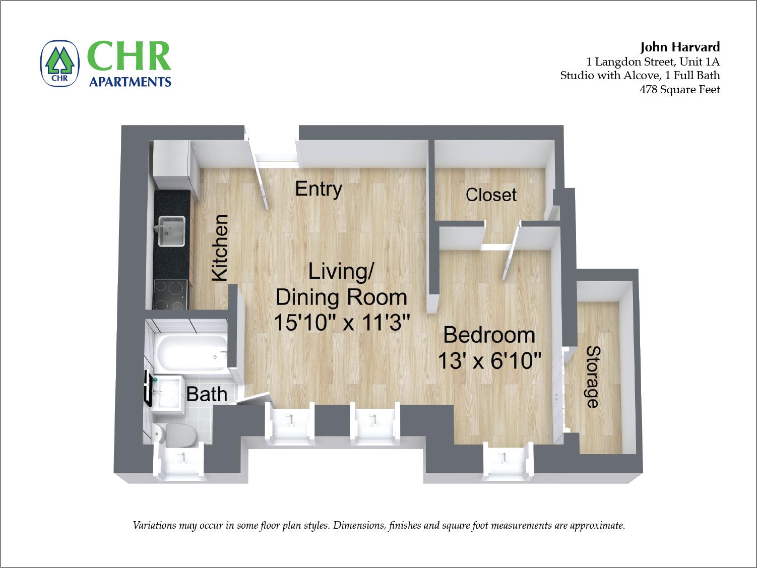 Floor plan John Harvard - Studio image 3