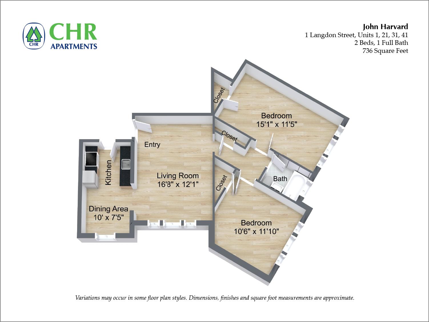 Click to view John Harvard - 2 Bedroom floor plan gallery