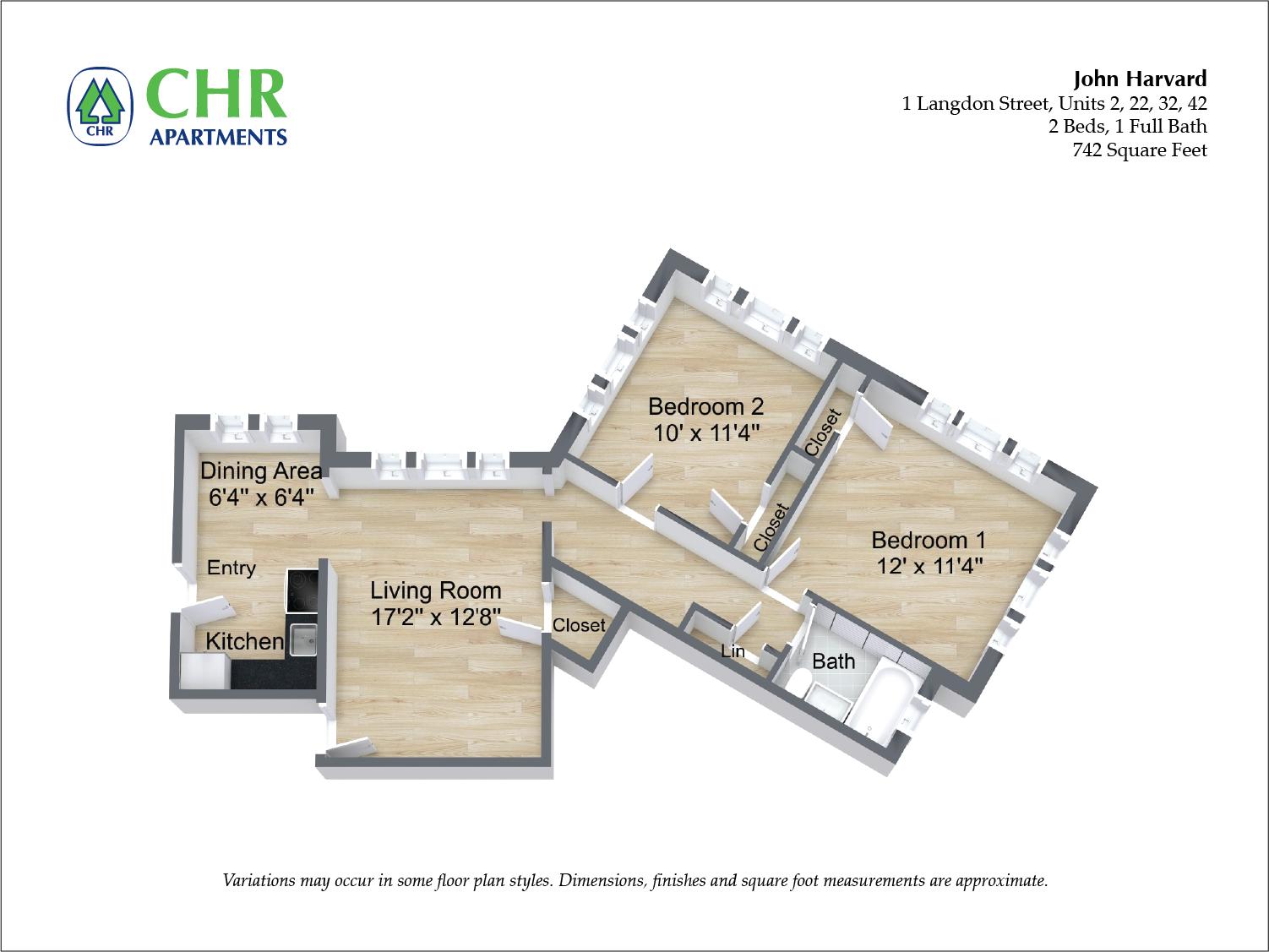 Floor plan John Harvard - 2 Bedroom image 2