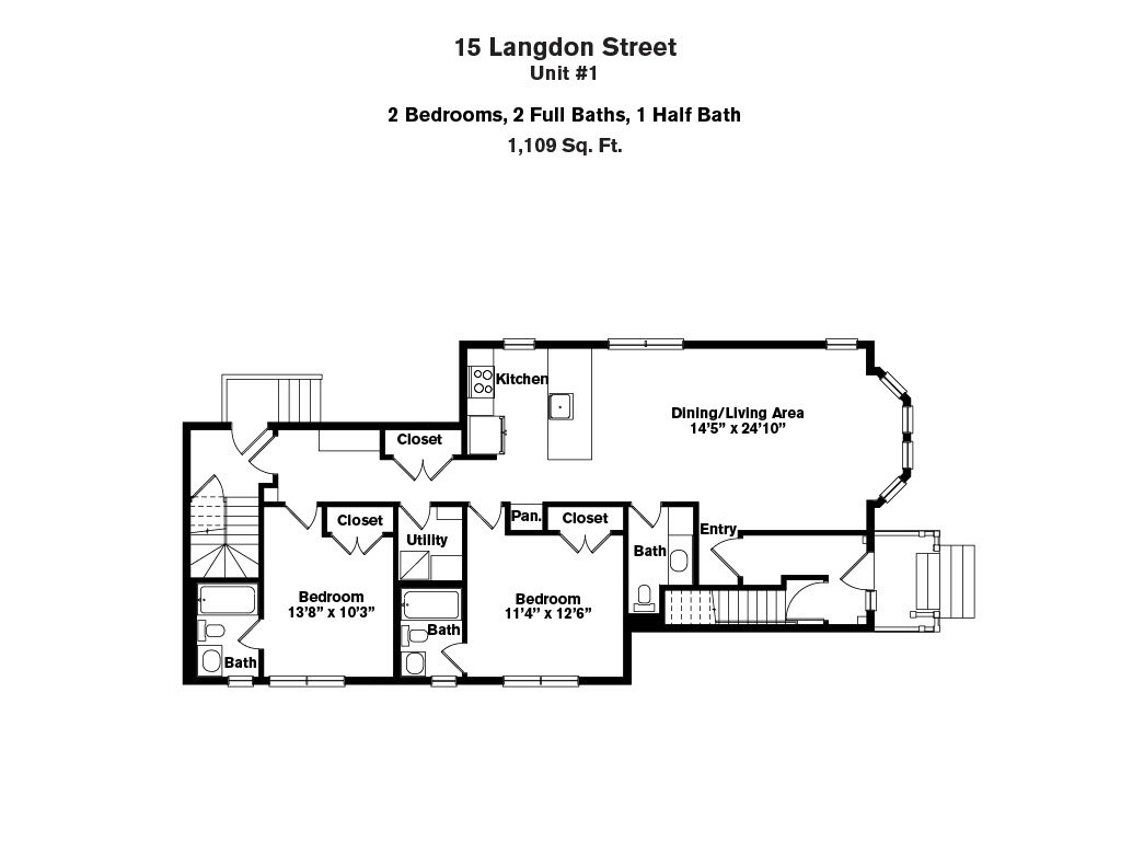 Click to view 15-17 Langdon Street - 2 Bedroom (Newly Renovated) floor plan gallery