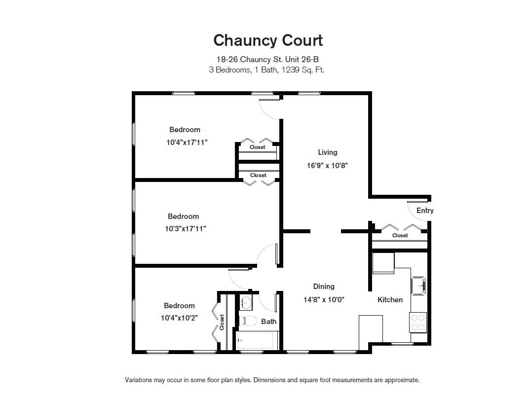 Click to view Chauncy Court - 3 Bedroom (Newly Renovated) floor plan gallery