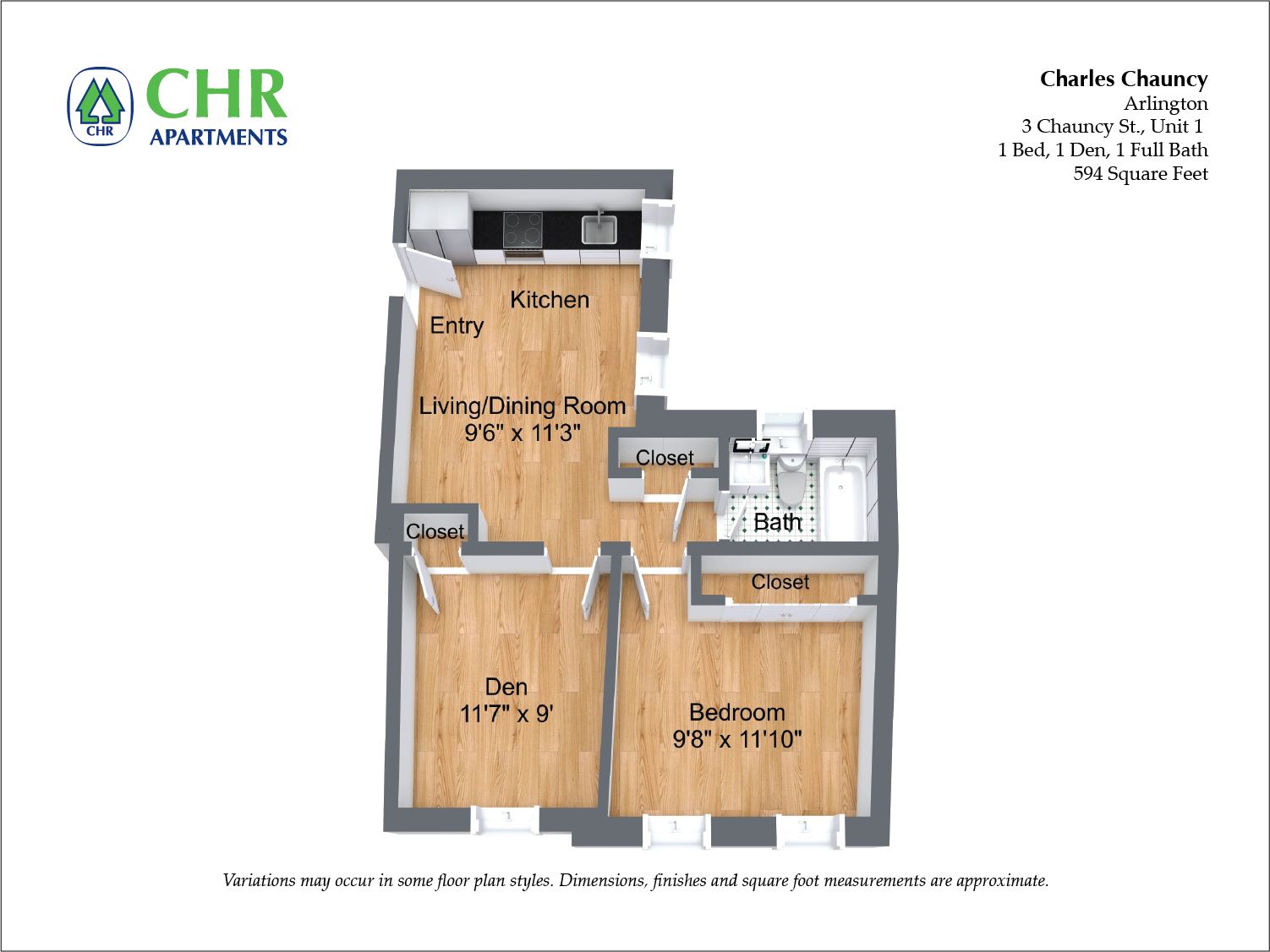 Click to view Floor plan Charles Chauncy - 2 Bedroom (Newly Renovated) image 2