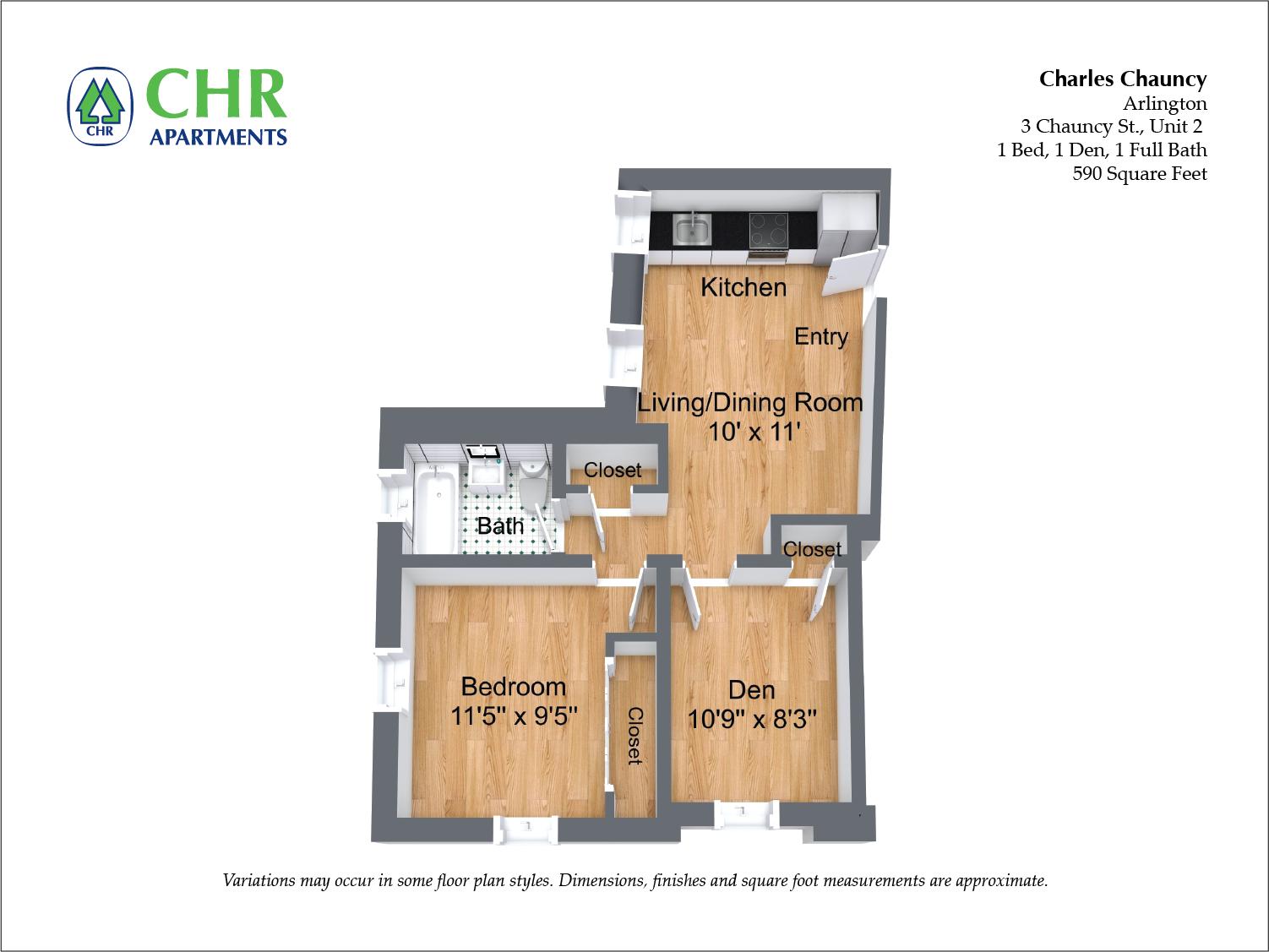 Click to view Charles Chauncy - 2 Bedroom (Newly Renovated) floor plan gallery