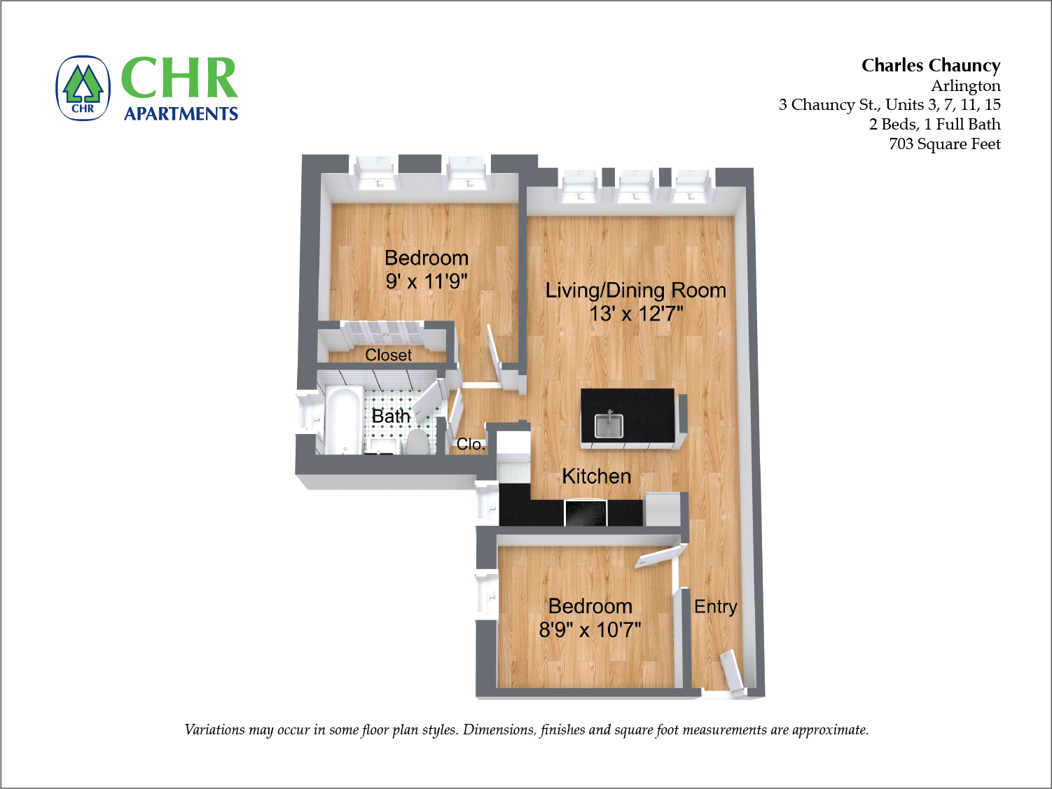 Click to view Floor plan Charles Chauncy - 1 Bedroom (Newly Renovated) image 3