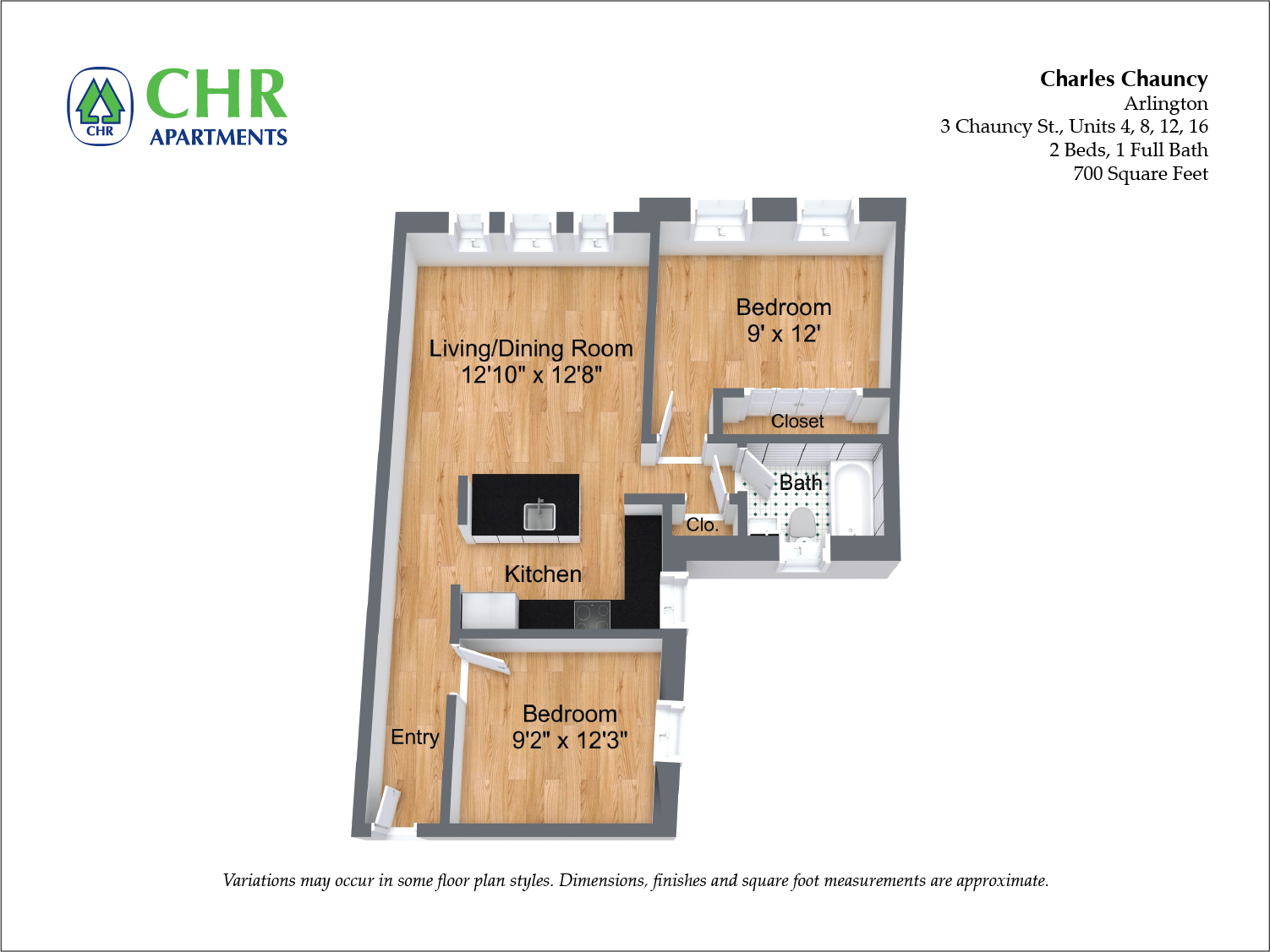 Click to view Floor plan Charles Chauncy - 1 Bedroom (Newly Renovated) image 2