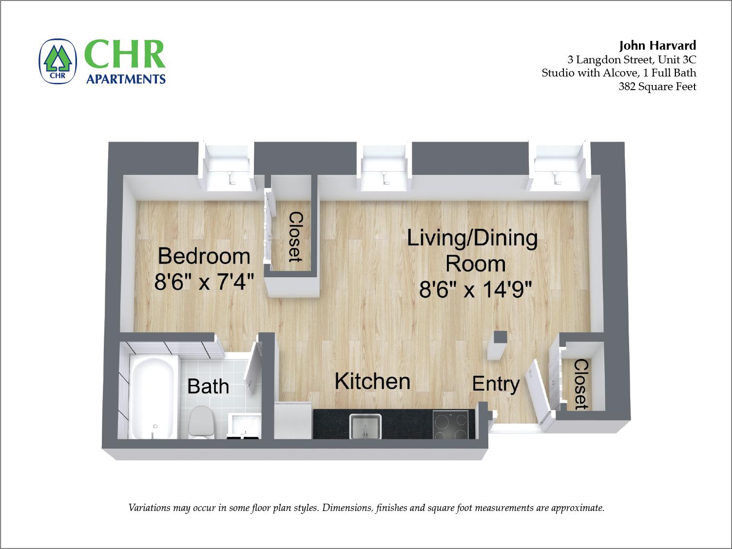 Floor plan John Harvard - Studio image 2