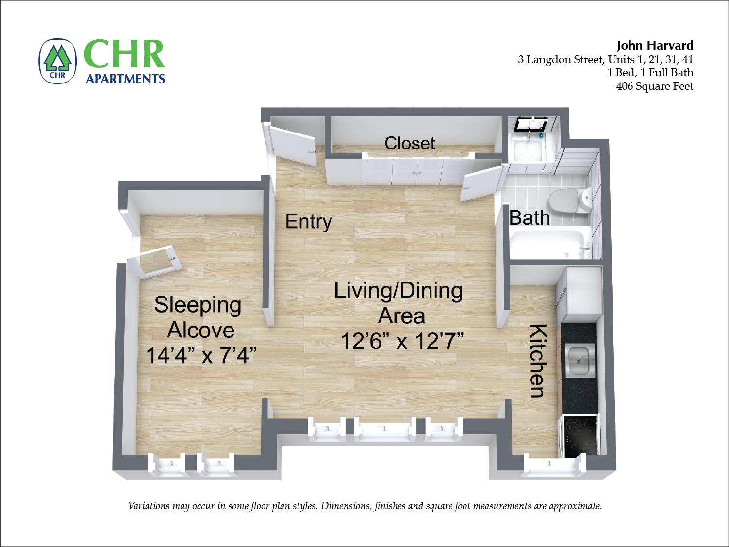 Floor plan John Harvard - 1 Bedroom image 6