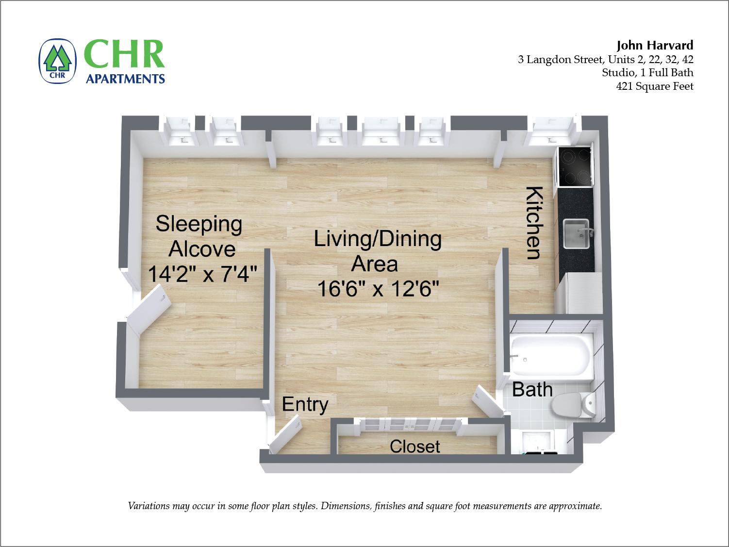 Floor plan John Harvard - 1 Bedroom image 5