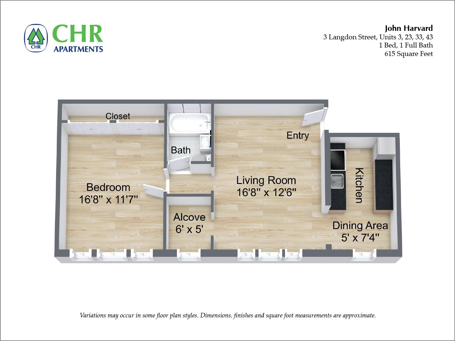 Floor plan John Harvard - 1 Bedroom image 4