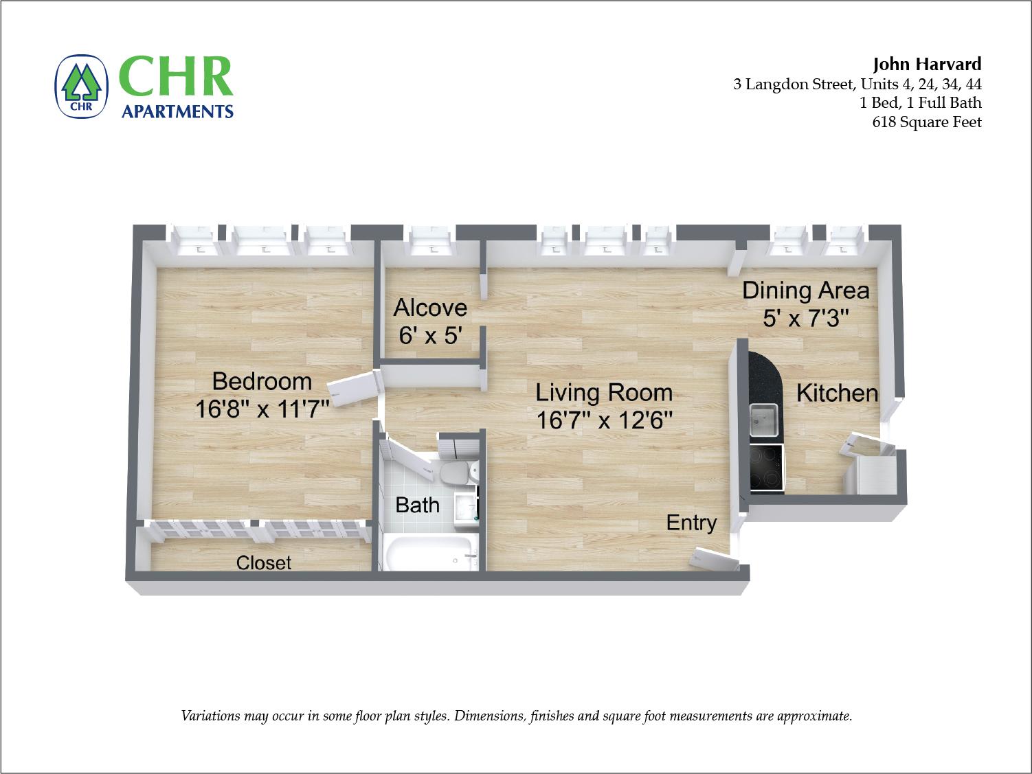 Floor plan John Harvard - 1 Bedroom image 3