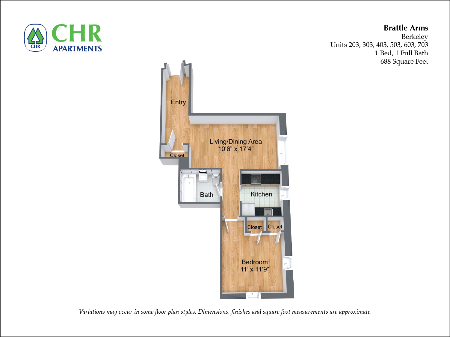 Click to view Floor plan Brattle Arms - 1 Bedroom image 2