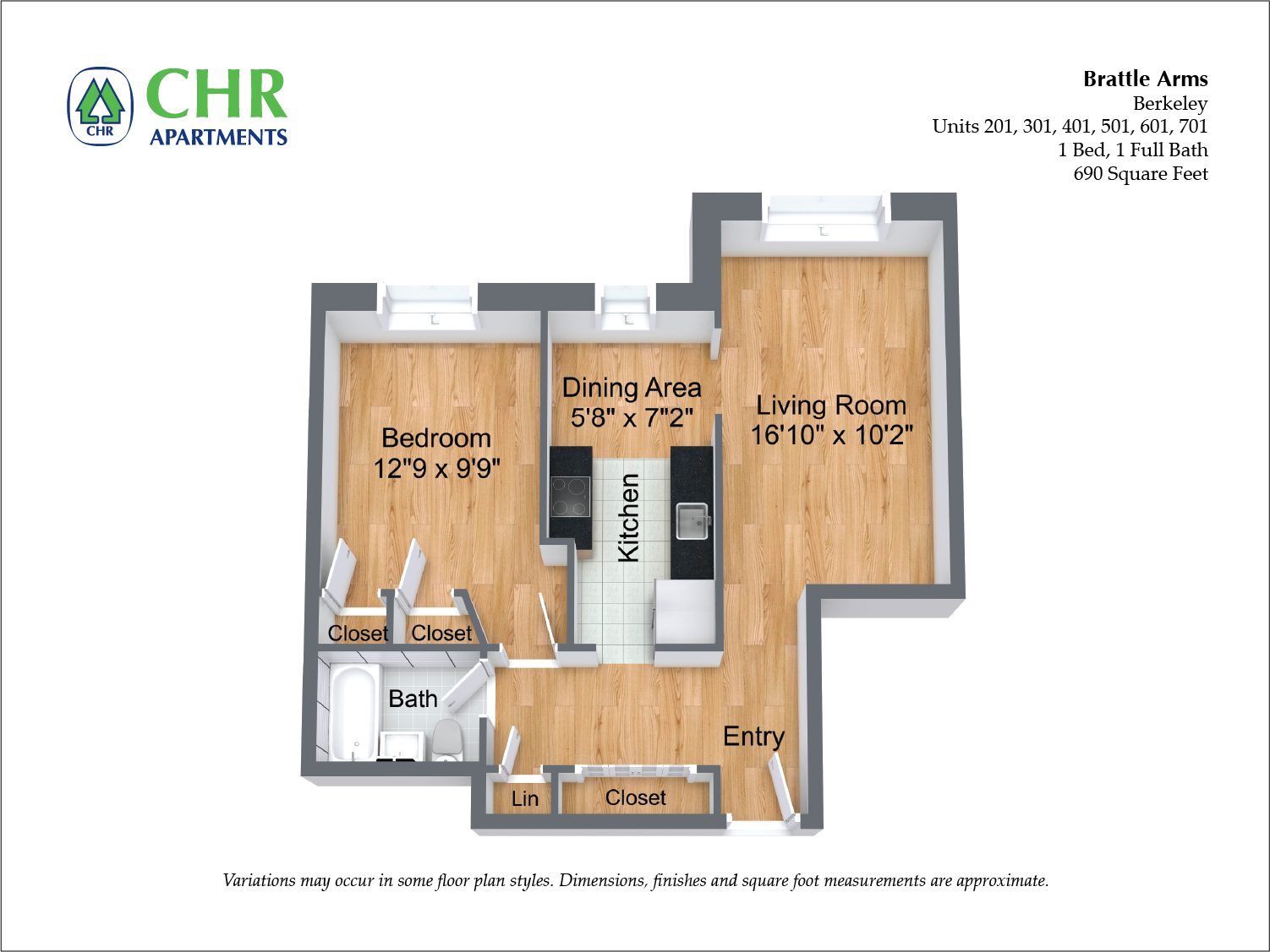 Click to view Brattle Arms - 1 Bedroom floor plan gallery
