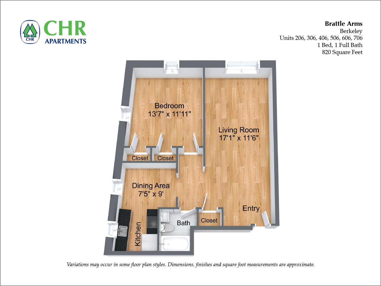 Click to view Floor plan Brattle Arms - 1 Bedroom image 3