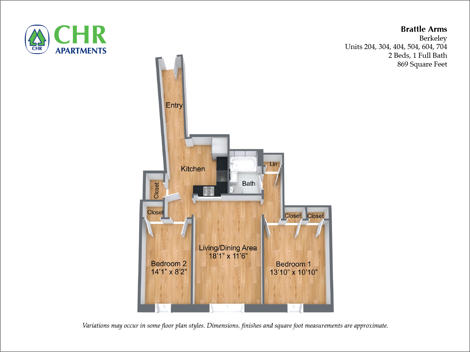 Click to view Floor plan Brattle Arms - 2 Bedroom image 2