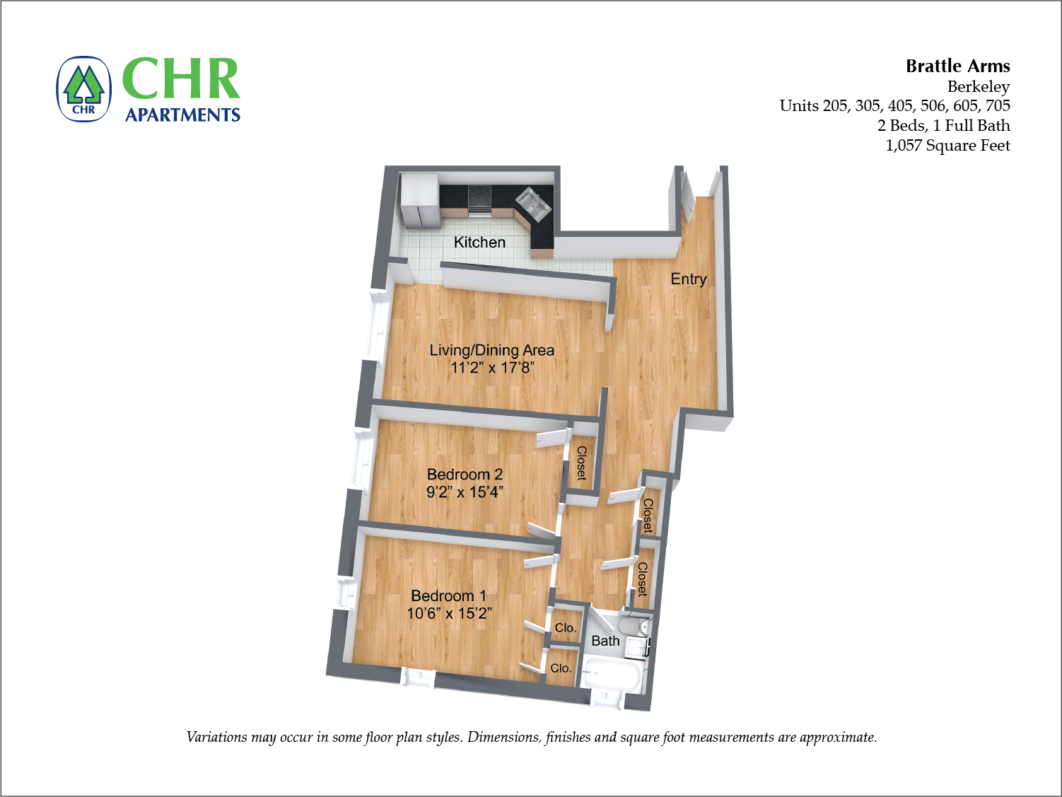 Click to view Floor plan Brattle Arms - 2 Bedroom image 3