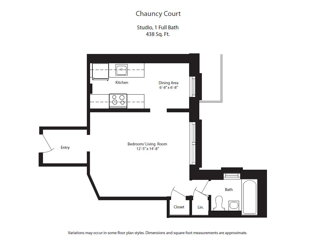 Click to view Chauncy Court - Studio (Newly Renovated) floor plan gallery