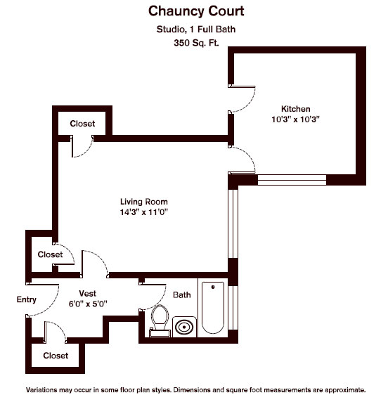 Click to view Floor plan Chauncy Court - Studio (Newly Renovated) image 2