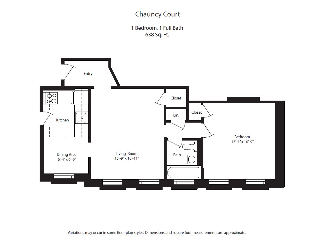 Click to view Chauncy Court - 1 Bedroom (Newly Renovated) floor plan gallery