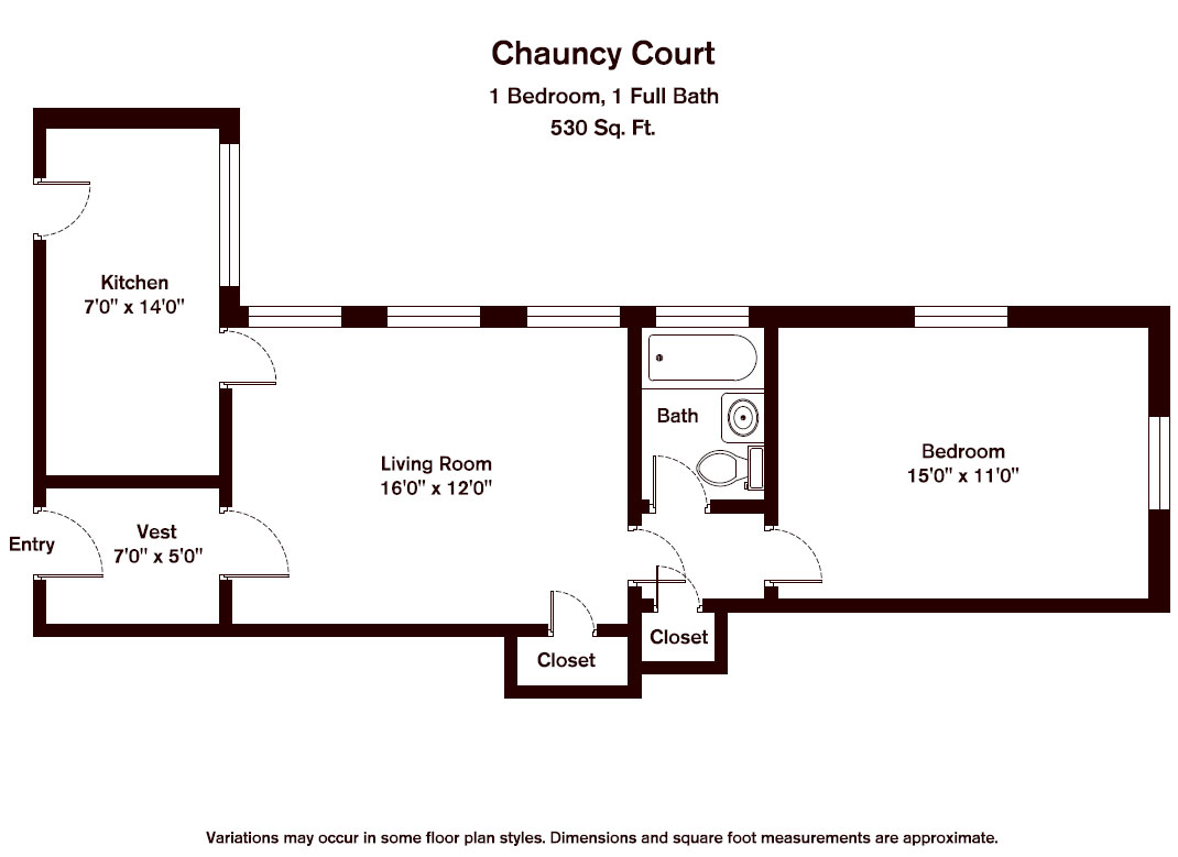 Floor plan Chauncy Court - 1 Bedroom (Newly Renovated) image 2