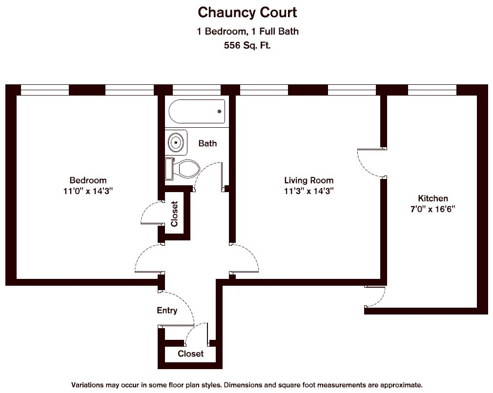 Floor plan Chauncy Court - 1 Bedroom (Newly Renovated) image 3
