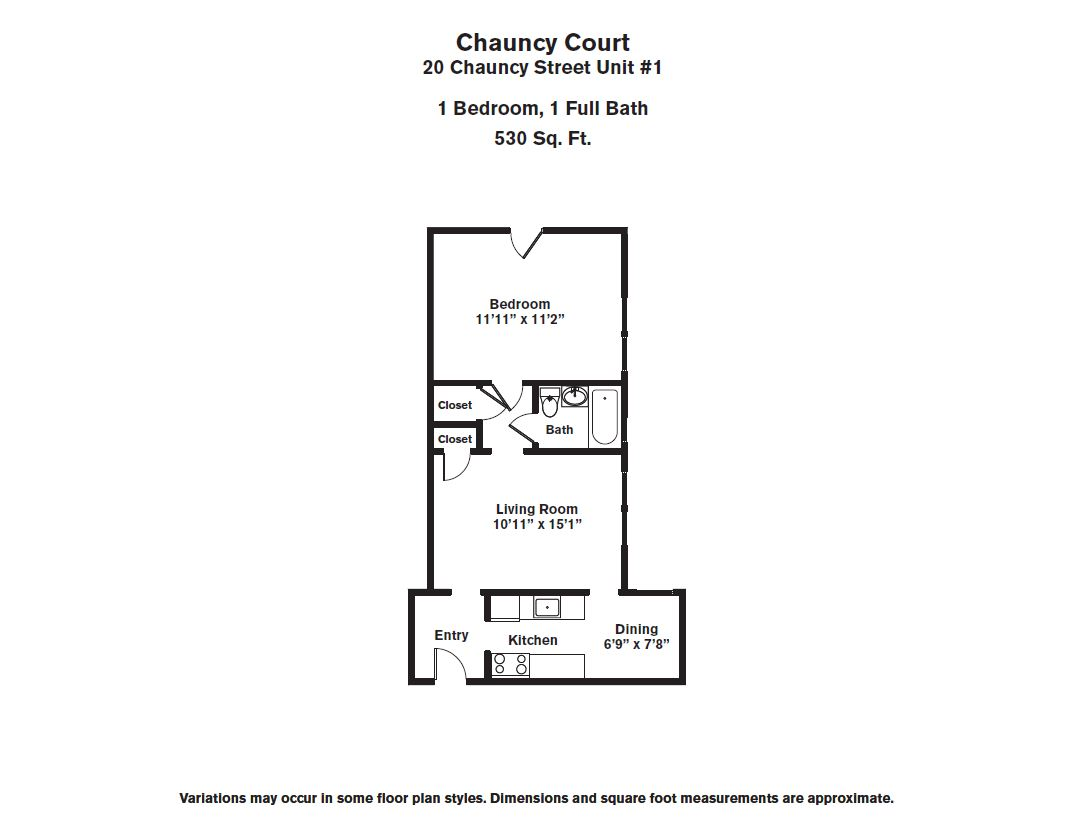 Floor plan Chauncy Court - 1 Bedroom (Newly Renovated) image 4