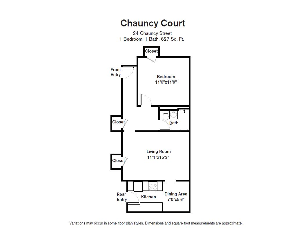 Floor plan Chauncy Court - 1 Bedroom (Newly Renovated) image 5