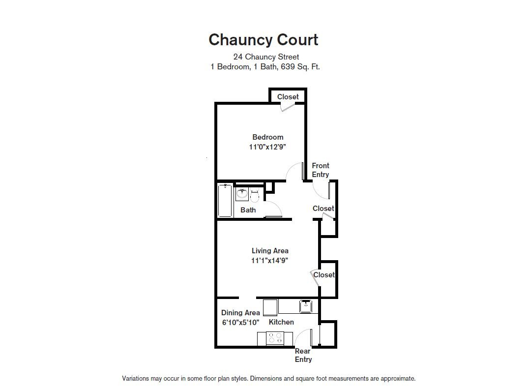 Floor plan Chauncy Court - 1 Bedroom (Newly Renovated) image 6