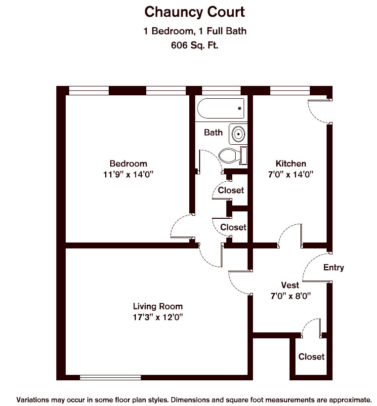 Floor plan Chauncy Court - 1 Bedroom (Newly Renovated) image 7