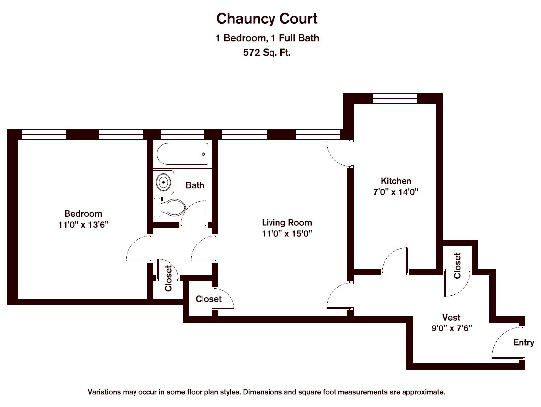 Floor plan Chauncy Court - 1 Bedroom (Newly Renovated) image 8