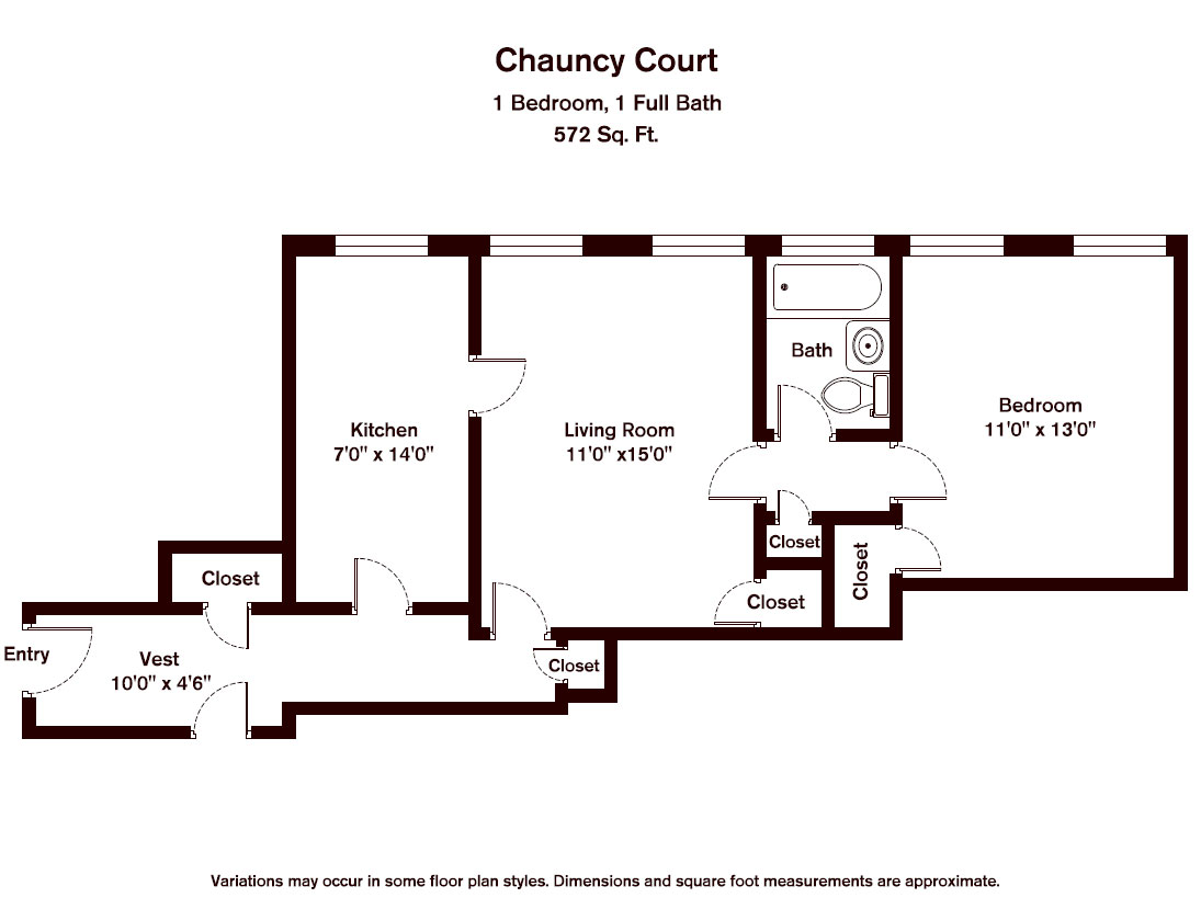 Floor plan Chauncy Court - 1 Bedroom (Newly Renovated) image 9
