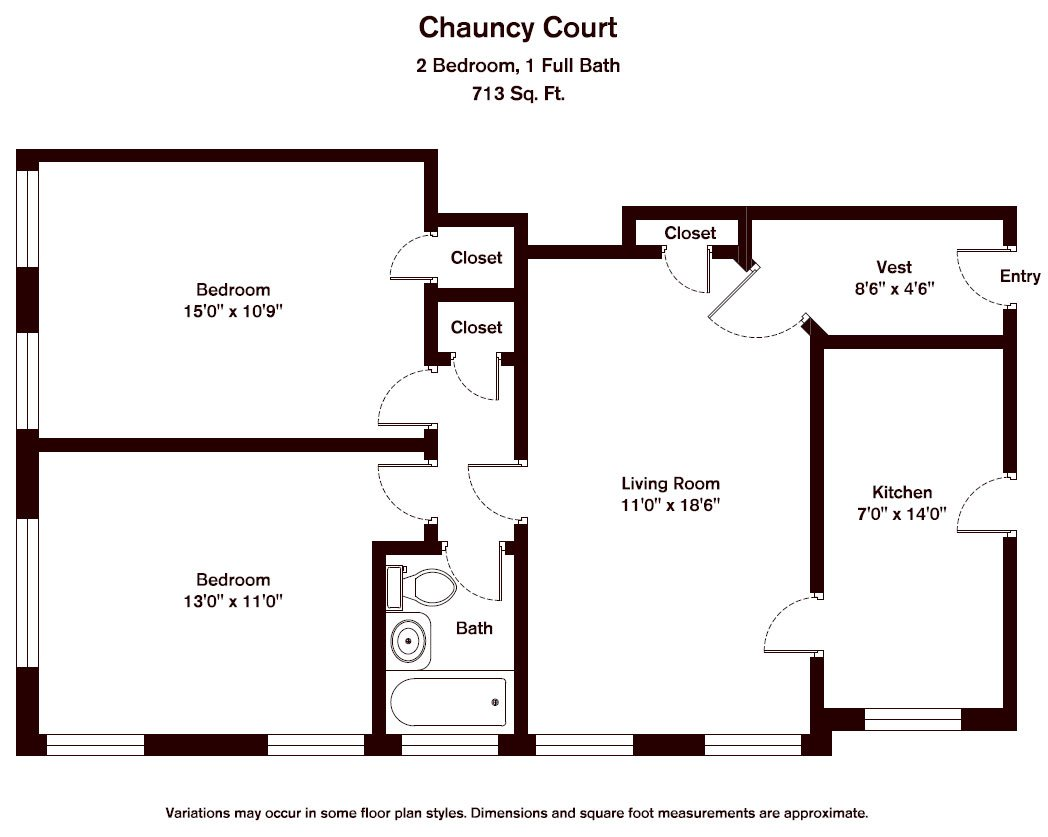 Click to view Chauncy Court - 2 Bedroom (Newly Renovated) floor plan gallery