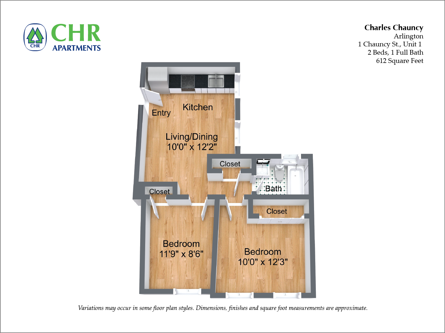 Click to view Floor plan Charles Chauncy - 2 Bedroom (Newly Renovated) image 5