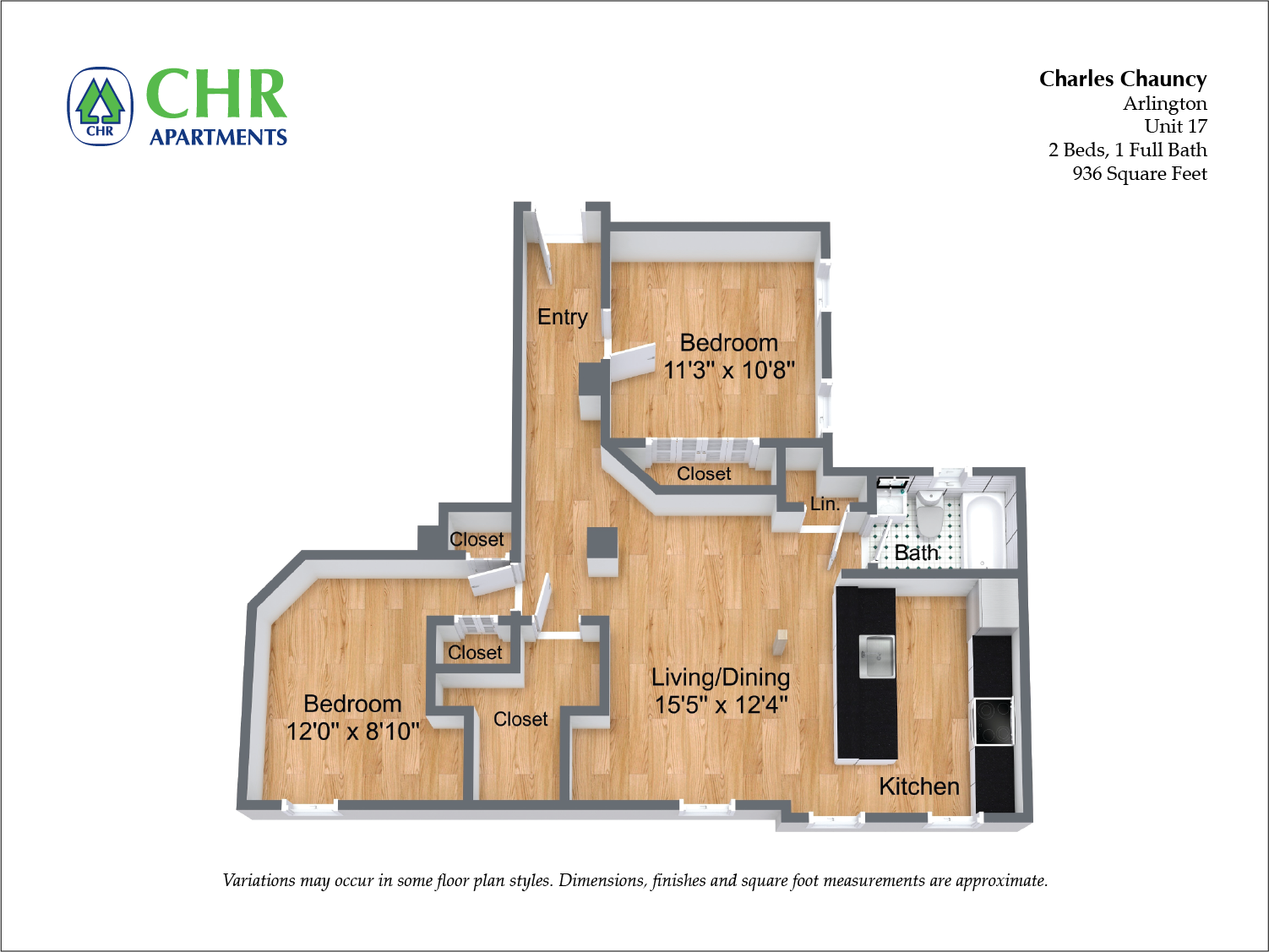 Click to view Floor plan Charles Chauncy - 2 Bedroom (Newly Renovated) image 3