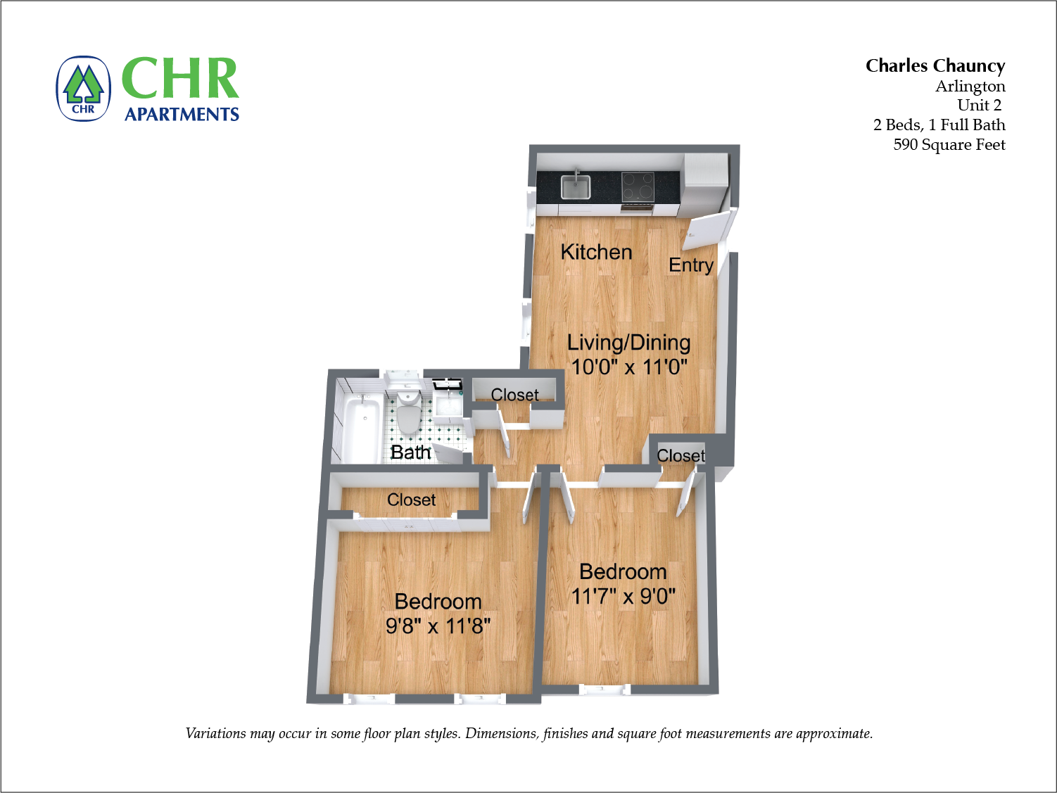 Click to view Floor plan Charles Chauncy - 2 Bedroom (Newly Renovated) image 4